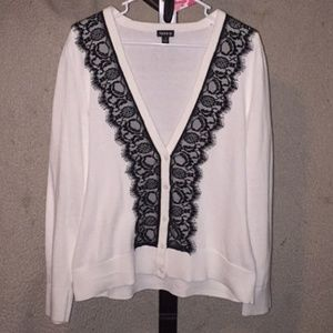 Torrid white with Black Lace Sweater Size 1
